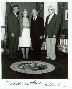 Signed picture of Claude Pepper posing with Governor Bob Graham and family members